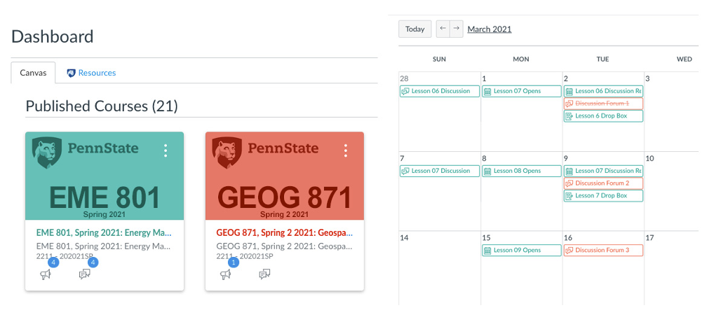 Color coded Canvas dashboard with calendar view