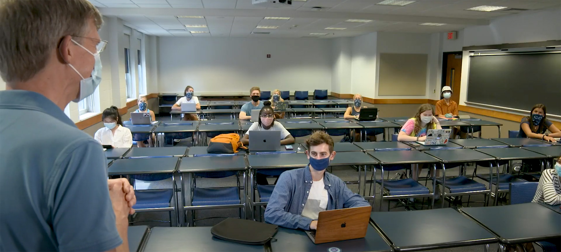 Instructor and students wearing masks in classroom