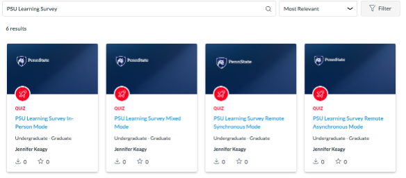 Screenshot showing a search for the term PSU Learning Surveys in the Canvas Commons search bar